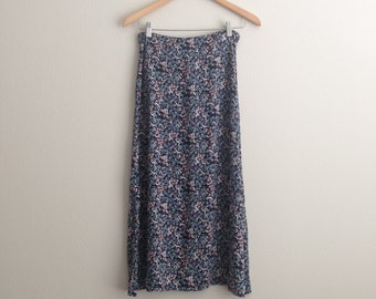 Blue and Pink Floral High Waisted Midi Skirt