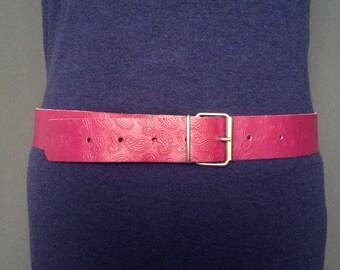 Pink Leatherette belt; paisley pattern