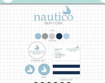 LOGO BRANDING SET - Nautico - Business Card, 2 logos, Sticker, Icons, Avatar