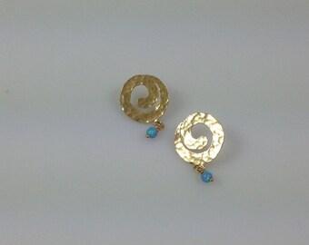 Gold spiral earrings, Gold stud earrings, Spiral post earrings, Fire opal stud earrings, Gold opal earrings