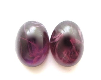 "CLOSEOUT: Purple Vintage Glass ""Flawed Amethyst"" Smooth Oval Cabs, 10x14 mm (pair) imperfect"