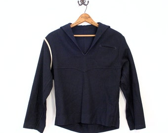 WWII Navy Top, Enlisted Uniform Military Jacket, Wool Shirt Blouse Jumper S