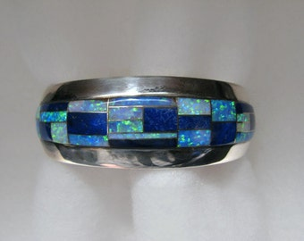 Vintage LIBERTAD Lab Opal and Lapis INLAY Cuff Bracelet -- 44.7 Grams, Gorgeous Color, For Larger Wrist