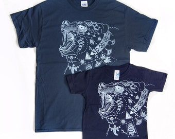 Father + Son or Daughter Two Shirt Combo - Ursa Major - Steel White Print on Mens And Toddler Midnight T-Shirt