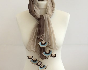 Ombre Scarf, Crochet Scarf, Earth Tones Wrinkled Scarf, Crochet Lace At Tips, Beadwork Accessories for Women, Fast Delivery