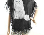 Cat shirt women shirt bat sleeve bleached shirt screen print (Measurements - fits great from S - M)