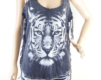 Tiger shirt funny tshirt tumblr quote shirt women graphic shirt bleached shirt women top screen print (Measurements - fits great from S - M)