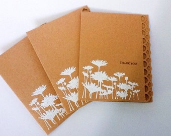 Kraft thank you cards - Stampin Up Hand made cards - Thank you cards - White Embossed Flowers - Field of Daisies - white Daisies