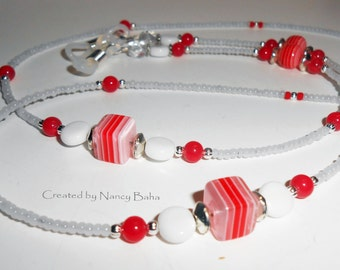 Beaded Eyeglass Chains, Colorful Red White Beaded Eyeglass Chain, Beaded Eyeglass Lanyard, Beach Sunglass Chain, Eyeglass Holders, EC17114