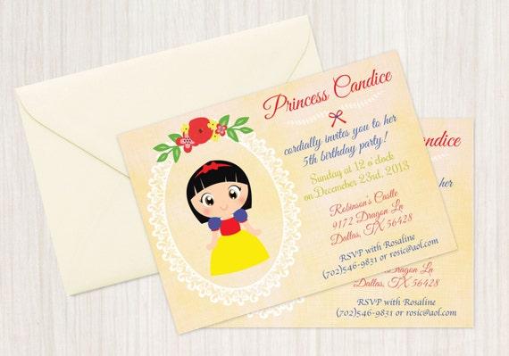 Princess Snow White Customizable Birthday Invitations, Princess, Girl Birthday Invitations, Snow White Birthday, Printable, Snow White Party