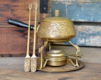 Brass Fondue Pot Set, Made in Korea - Ornate Floral / Rose Pattern - Cooking Stand, Burner Unit, Serving Base Tray, Forks Included - Vintage