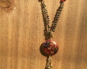 Hippie Mama Upcycled Cloisonne pendant on brass tone chain with red jewels