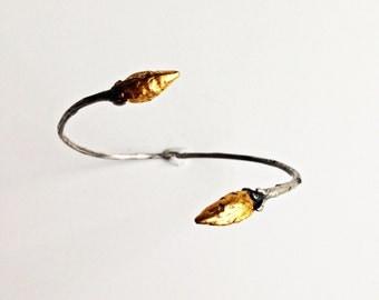 Sterling Silver and 24k Gold Leaf Twig Cuff Bracelet - Handmade & OOAK