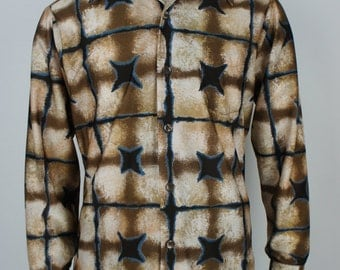 Vintage Printed 70's Polyester Disco Shirt size Large