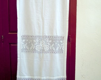 Handmade curtain with atrante and lace - 0000844