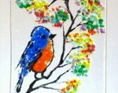 "BLUEBIRD WINDOW Kiln Fused Stained Glass 2.5 x 3.5""  ACEO Blue Bird Suncatcher, Wall Hanging"