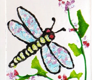 """DRAGONFLY WINDOW Kiln Fused Stained Glass 2.5 x 3.5""""  ACEO Suncatcher, Wall Hanging"""