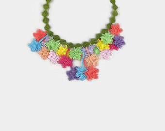 Crochet Necklace Crocheted Leaves Choker Necklace - Spring Colors - Turkish Oya Jewelry - Multicolor Statement Necklace - Tatted Lace Jewelr