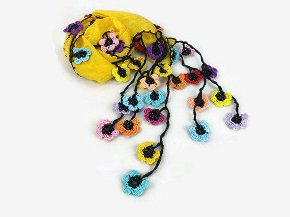Mustard Yellow Silk Scarf with multicolor crochet Oya Flower Edges , Silk Foulard, Womens Scarflette, Summer trend, Summer Scarf