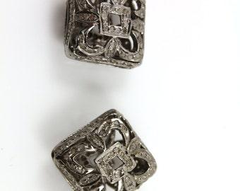 Diamond Square Pave Bead , 1 Piece  15x15 mm , Designer Pave Diamond, Pave Diamond Jewelry,  Sterling Silver Pave Bead.(DF/BD187)