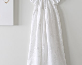 Baby Girl Long Baptism Dress-Antique French Vintage Cotton Chritening Gown-Couture Baptism Dress-Handmade Children Clothing by Chasing Mini
