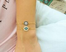 Mother daughter matching bracelets Evil eye bracelet  zirconia bracelets mommy and me, gift for best friend birthday, malocchio braccialetto