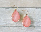 Peach Coral Teardrop Earrings, Peach Coral Statement Earrings, Coral Bridesmaid Earrings