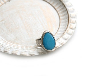 Adjustable Drop Blue Jade Stone Silver Plated Ring