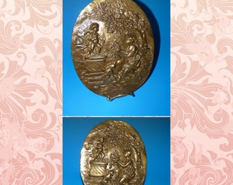 Antique Victorian Raised Relief Classical Lady & Cherub / Cupid Spelter or Gold Brass Bronze Style Wall Plaque