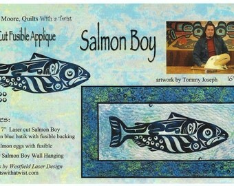 Salmon Boy Laser Cut Quilt Kit DIY Quilting Appliqué Only