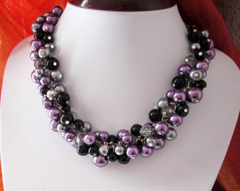 Plum Pearl Necklace, Purple, Black and Gray Bridesmaid Bib Necklace, Chunky Cluster Necklace, Wedding Bridesmaid Jewelry