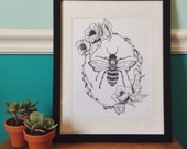 Bee in Floral Frame Art Print