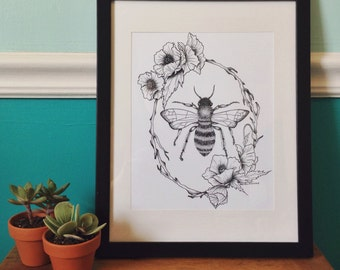 Bee in Floral Frame Art Print