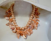 Multi Strand Baroque Pearl Necklace, Papaya Cultured Pearls, Peach Swarovski Pearls, .925 Sterling Silver
