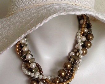 Beaded Multi Strand Torsade Statement Necklace, Bronze Freshwater Cultured Pearls, White Pearls, .925 Sterling Silver