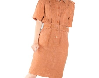 Vintage Orange Safari Midi Dress / Flax Button Down Dress / Belted Summer Retro Dress / Women's Size Medium