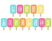 Happy Birthday Banner - Popsicle Banner - Ice Cream Banner - Kids Birthday Party Decorations - Bright Birthday Garland - Popsicle Bunting