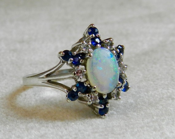 Opal Engagement Ring Blue Sapphire Halo Opal Engagement Ring