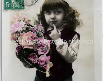 "French RPPC Digital Download 1900's Un Baiser  "" A  Kiss ""  Boy with Pink Flowers  White Cap"