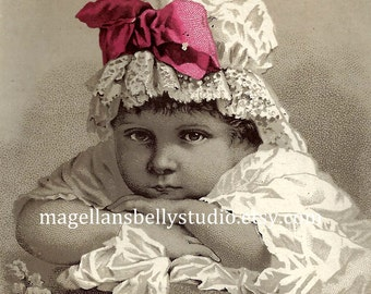 Girl in Bonnet Instant Digital Download 1800's Trade Card Reproduction Horsford's Acid Phosphate Baby Cute Antique Image