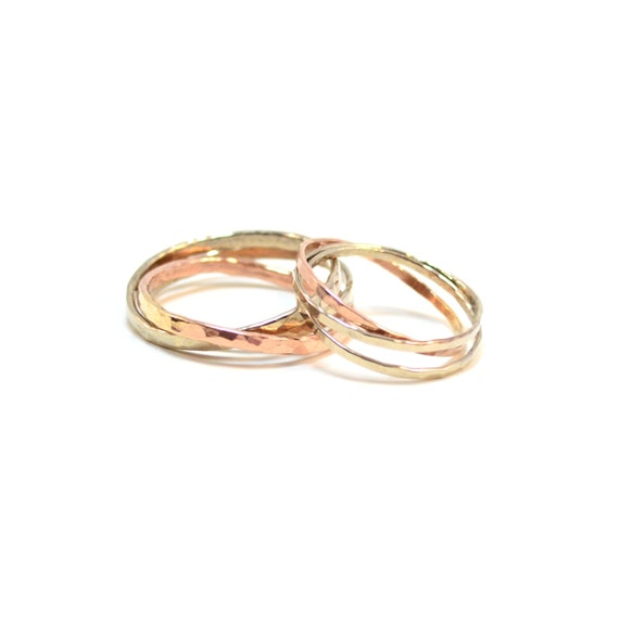 14k Gold Matching Interlocking Wedding Bands. His & Hers Set. 6mm and 4mm.