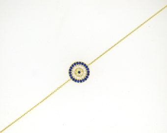 Elegant Evil Eye Bracelet-Yellow Gold