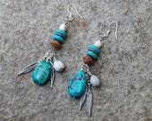 Boho Dangle Earrings, Southwest Turquoise and Wood Tribal Earrings, Southwest Drop Earrings, Feather Charm Earrings, Bohemian