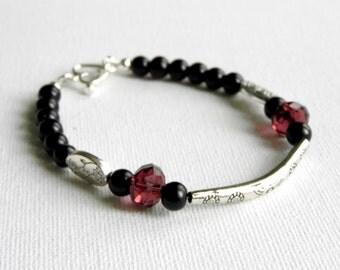 Black and Plum Beaded Bracelet