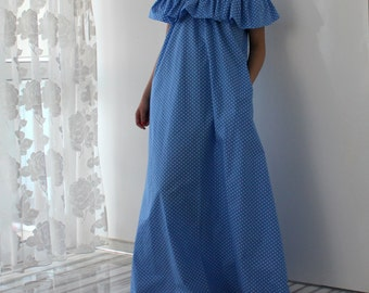 Blue Polka Dots Maxi dress, Plus size dress, Ruffle dress, Plus size clothing, Off shoulder dress, Long Dress, Blue dress,Dress with pockets