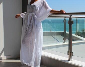 White cover up dress, Maxi Dress , Caftan Dress, Chiffon dress, Plus Size Dress, Chiffon Dress, Beach Dress, Beach Tunic, Summer Dress