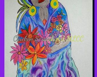 Caribbean Flower Lady Original Artwork pastels