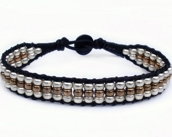 Silver and Bronze Leather Wrap Bracelet Mens Womens Southwest Boho Western Southwestern