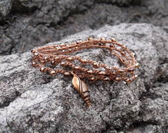 Copper Boho Wrap Bracelet Shell Charm, Knotted Necklace, Bohemian Copper Bracelet, Boho Chic