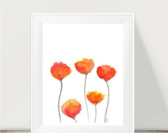 Watercolor Art, Tulip Print, 11x14 Watercolor Flowers, Orange Wall Decor, Red Orange Decor, Watercolor Painting, Floral Wall Art, Orange Art